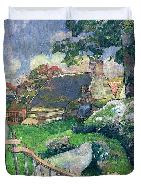 The Pig Keeper Duvet Cover by Paul Gauguin