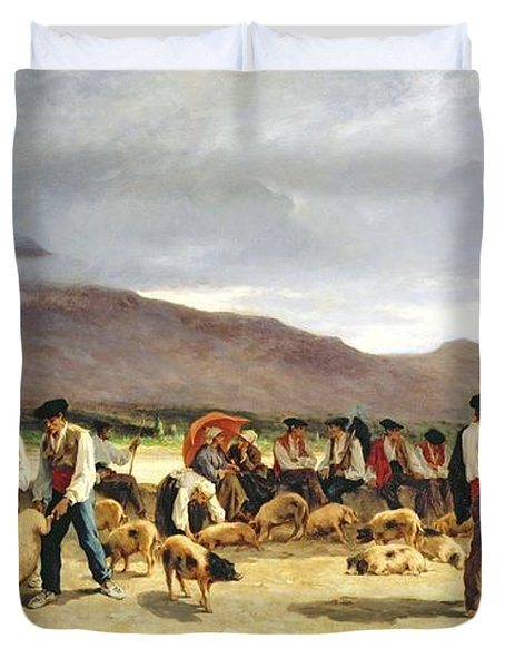 The Pig Market Duvet Cover by Pierre Edmond Alexandre Hedouin
