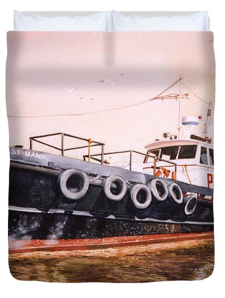 The Pilot Boat Duvet Cover by Marguerite Chadwick-Juner