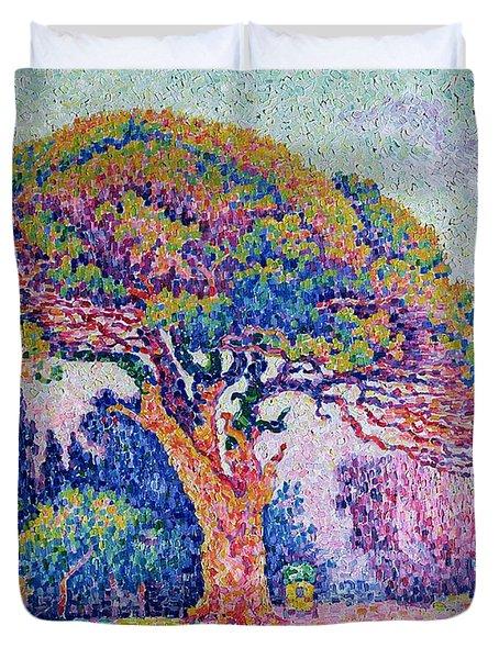 The Pine Tree At Saint Tropez Duvet Cover by Paul Signac