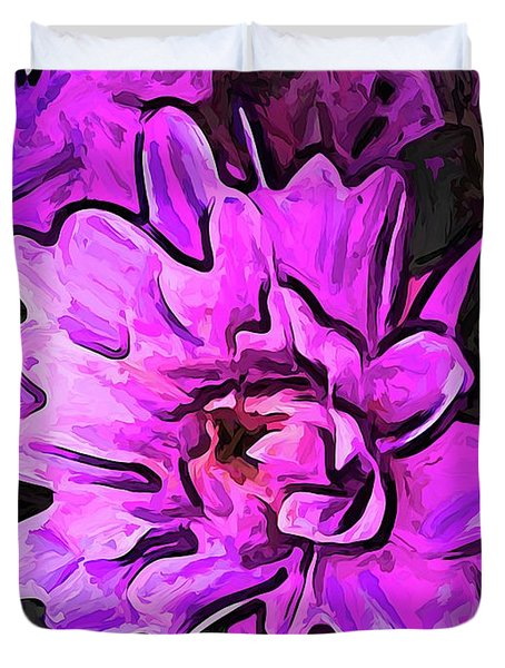 The Pink And Lavender Flowers On The Grey Surface Duvet Cover