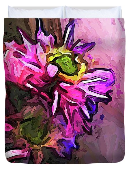 The Pink And Purple Flower By The Pale Pink Wall Duvet Cover