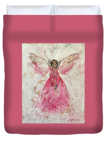 The Pink Angel  Duvet Cover by Jun Jamosmos