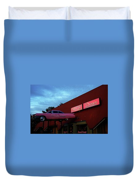 The Pink Cadillac Diner Duvet Cover