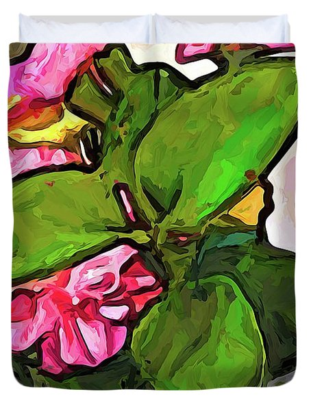 The Pink Flowers Behind The Green Leaves Duvet Cover