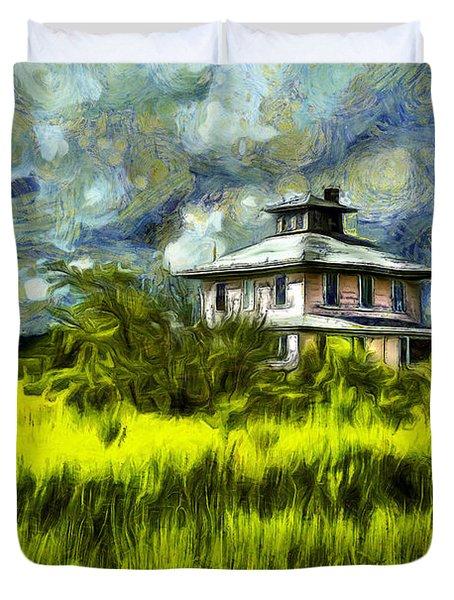 The Pink House In Salt Marsh-van Gogh Style Duvet Cover