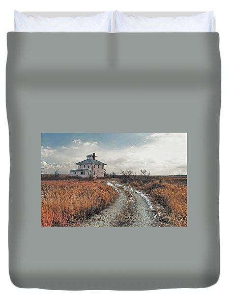 Duvet Cover featuring the photograph The Pink House by Wayne Marshall Chase