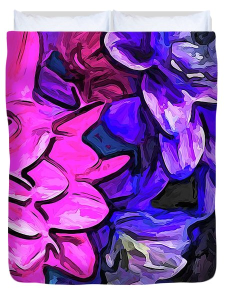 The Pink Petals With The Purple And Blue Flowers Duvet Cover