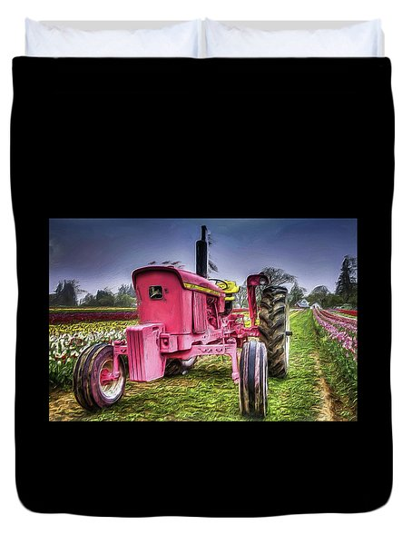 Duvet Cover featuring the photograph The Pink Tractor At The Wooden Shoe Tulip Farm by Thom Zehrfeld