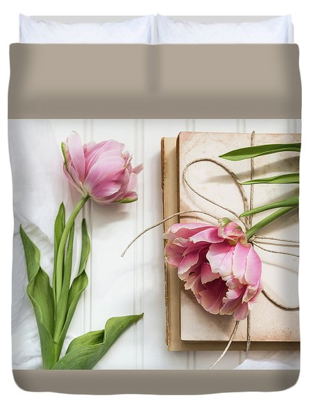 Duvet Cover featuring the photograph The Pink Tulips by Kim Hojnacki