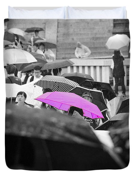 The Pink Umbrella Duvet Cover