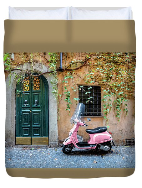 The Pink Vespa Duvet Cover by Al Hurley