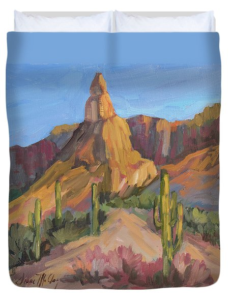 Duvet Cover featuring the painting The Pinnacle At Goldfield Mountains by Diane McClary