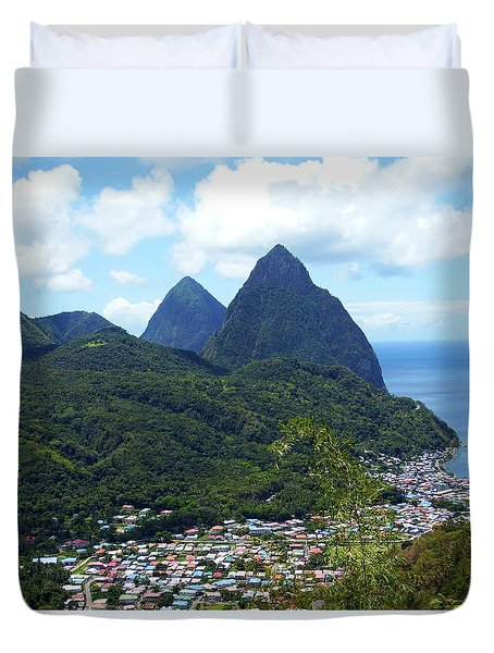 Duvet Cover featuring the photograph The Pitons, St. Lucia by Kurt Van Wagner