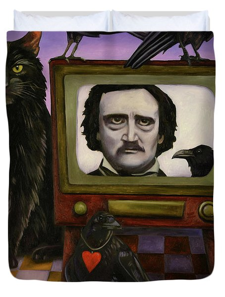 Duvet Cover featuring the painting The Poe Show by Leah Saulnier The Painting Maniac