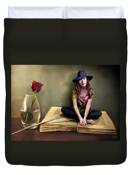 The Poetess Duvet Cover