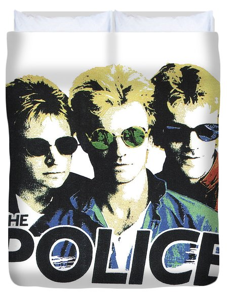 Duvet Cover featuring the digital art The Police by Gina Dsgn