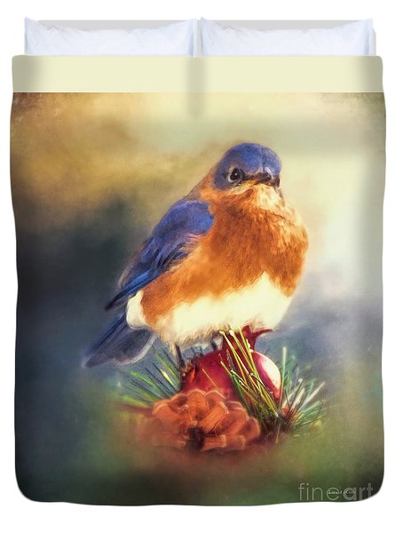 The Pondering Bluebird Duvet Cover