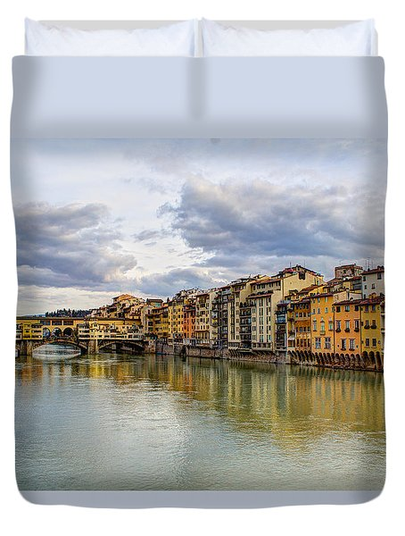 The Ponte Vecchio And Florence Duvet Cover