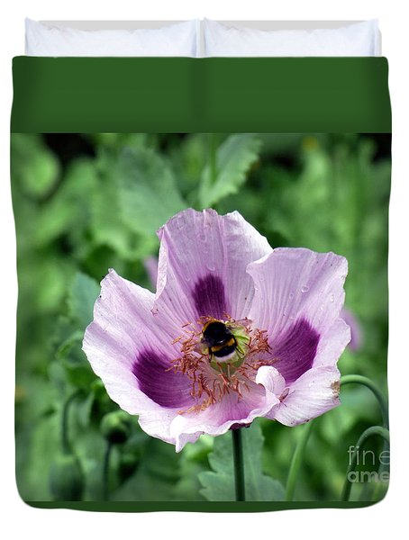 Duvet Cover featuring the photograph The Poppy And The Bee by Lynn Bolt