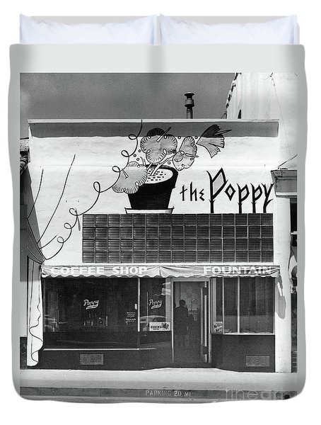 The Poppy, Coffee Shop, Fountain, Alvarado Street, Monterey Circ Duvet Cover