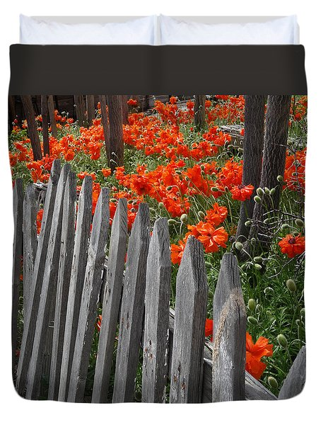The Poppy Fence Duvet Cover