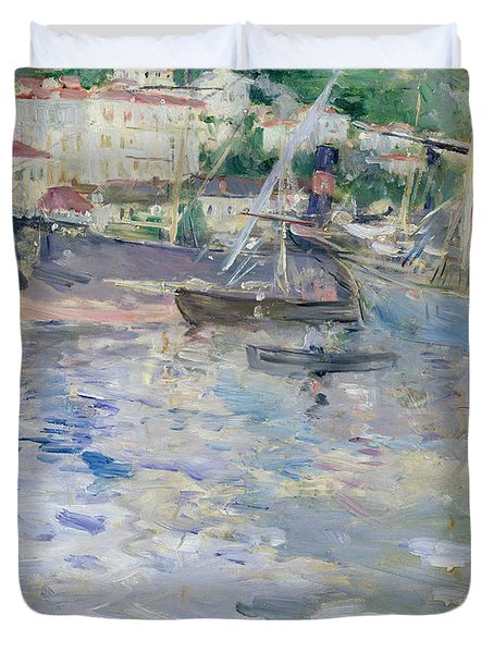 The Port At Nice Duvet Cover by Berthe Morisot