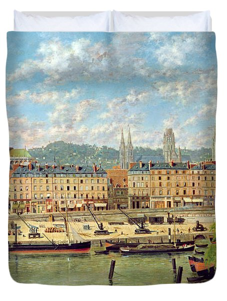 The Port At Rouen Duvet Cover by Torello Ancillotti