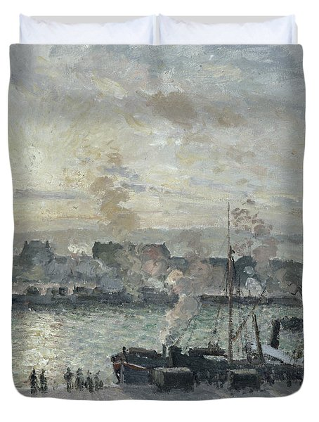The Port Of Rouen Duvet Cover by Camille Pissarro