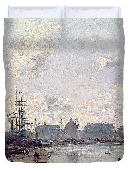 The Port Of Trade Duvet Cover by Eugene Louis Boudin