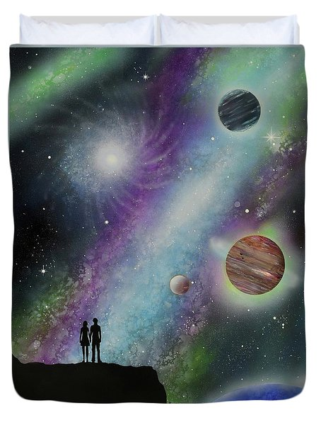 Duvet Cover featuring the painting The Possibilities by Mary Scott