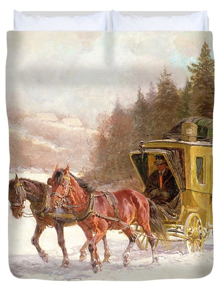The Post Coach In The Snow Duvet Cover by Fritz van der Venne
