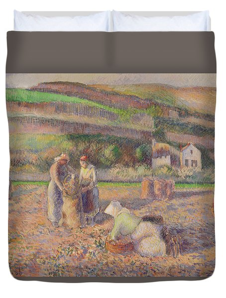 The Potato Harvest Duvet Cover by Camille Pissarro