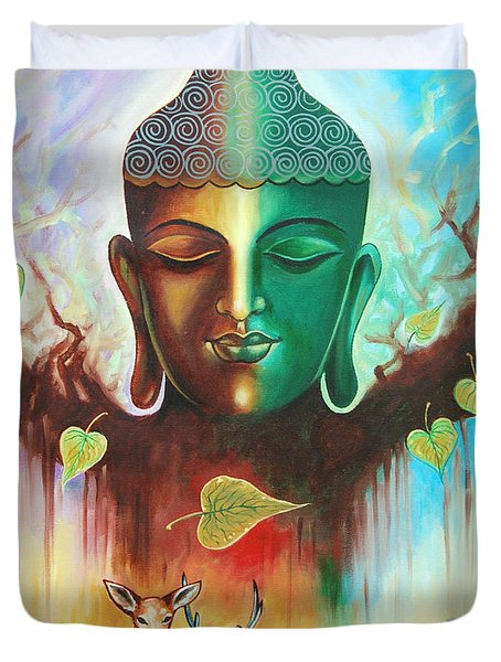Duvet Cover featuring the photograph The Power Of Buddha by Ragunath Venkatraman