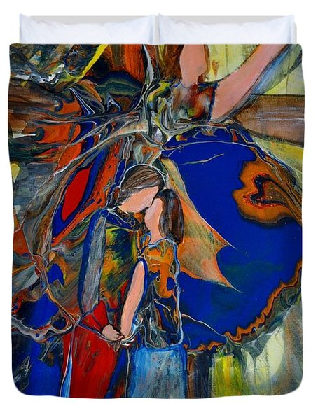 Duvet Cover featuring the painting The Power Of Forgiveness by Deborah Nell