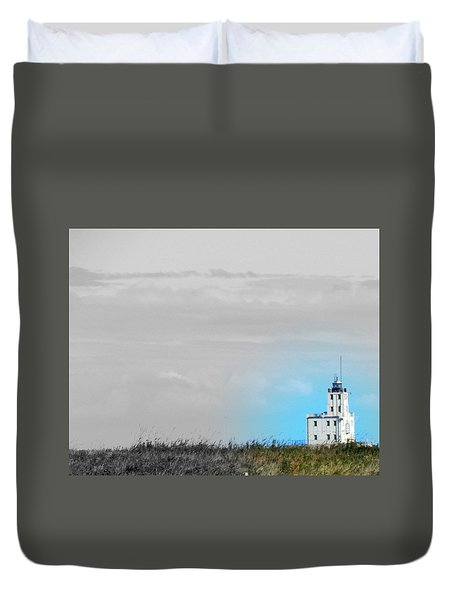 The Powerful  Lighthouse On Lake Michigan Duvet Cover