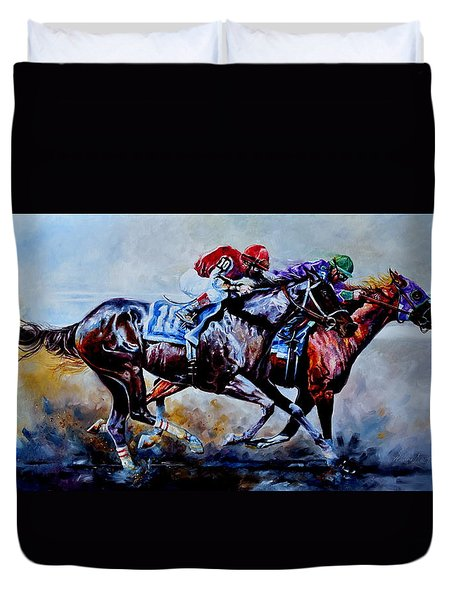 Duvet Cover featuring the painting The Preakness Stakes by Hanne Lore Koehler