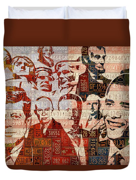 The Presidents Past Recycled Vintage License Plate Art Collage Duvet Cover