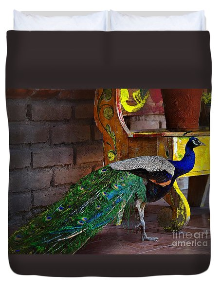 Duvet Cover featuring the photograph The Pretty Peacock by John  Kolenberg