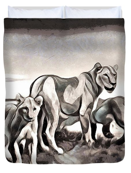 Duvet Cover featuring the digital art The Pride by Pennie McCracken