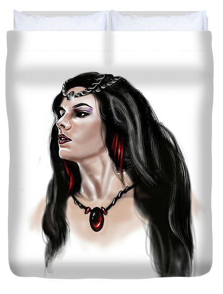 Duvet Cover featuring the painting The Princess Morgana by James Christopher Hill
