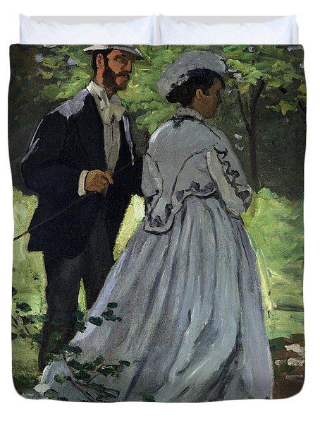 The Promenaders Duvet Cover by Claude Monet