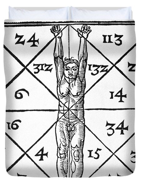 The Proportions Of Man And Their Occult Numbers From De Occulta Philosophia Libri IIi Duvet Cover