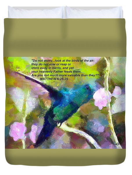 Duvet Cover featuring the painting The Provider by Wayne Pascall