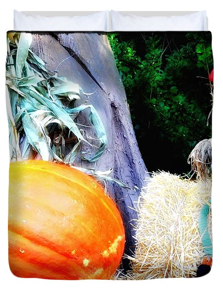 the Pumpkin and the Scarecrow Duvet Cover by Bill Cannon
