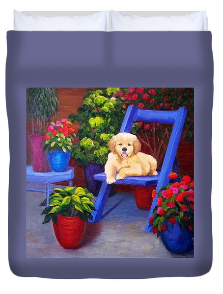 The Puppy In The Garden Duvet Cover