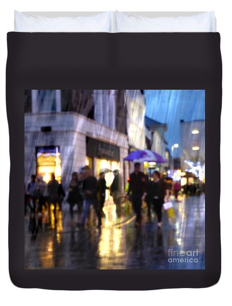 Duvet Cover featuring the photograph The Purple Umbrella by LemonArt Photography