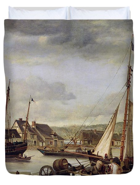 The Quay At Rouen Duvet Cover by Jean Baptiste Camille Corot