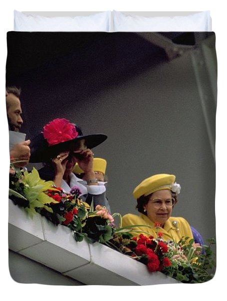 The Queen At Derby Day 1988 Duvet Cover