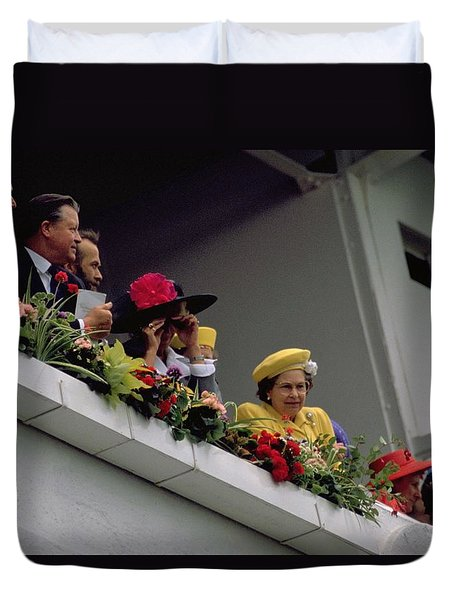 Duvet Cover featuring the photograph The Queen At Derby Day 1988 by Travel Pics